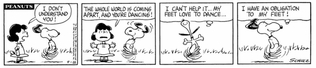 Snoopy can't stop dancing.